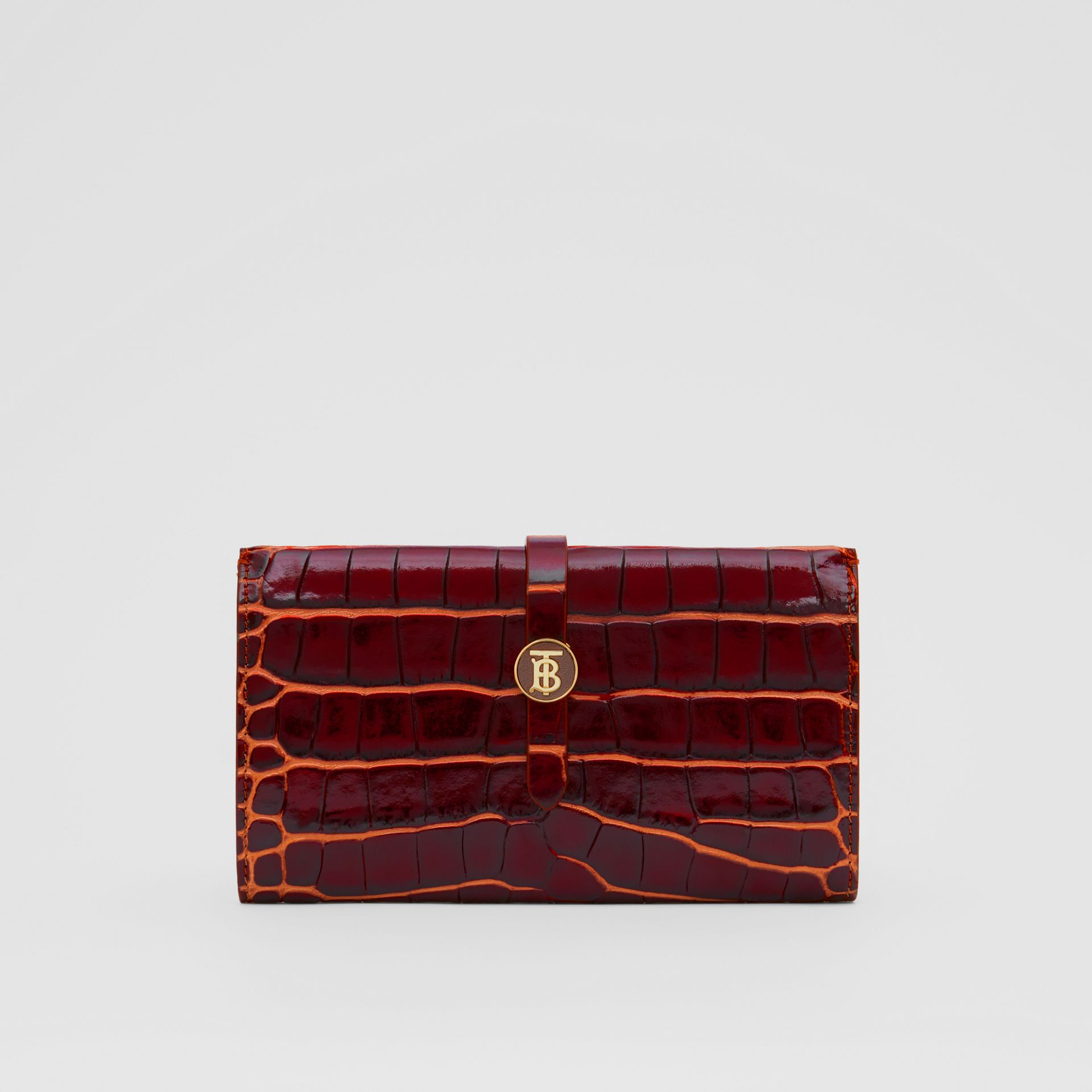 Monogram Motif Embossed Leather Folding Wallet in Tan - Women | Burberry - gallery image 0