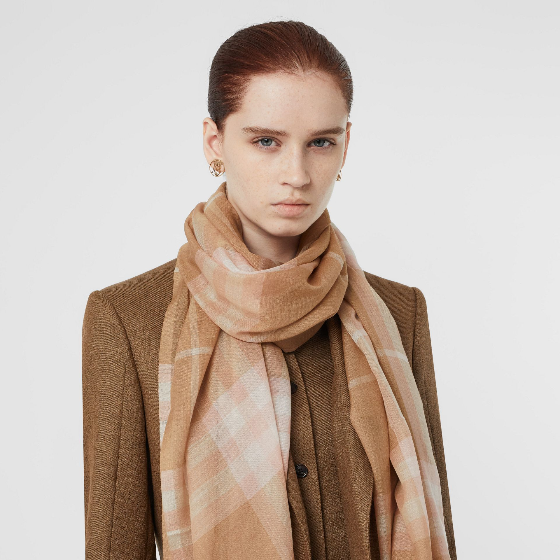 Lightweight Check Wool and Silk Scarf in Fawn | Burberry - gallery image 2