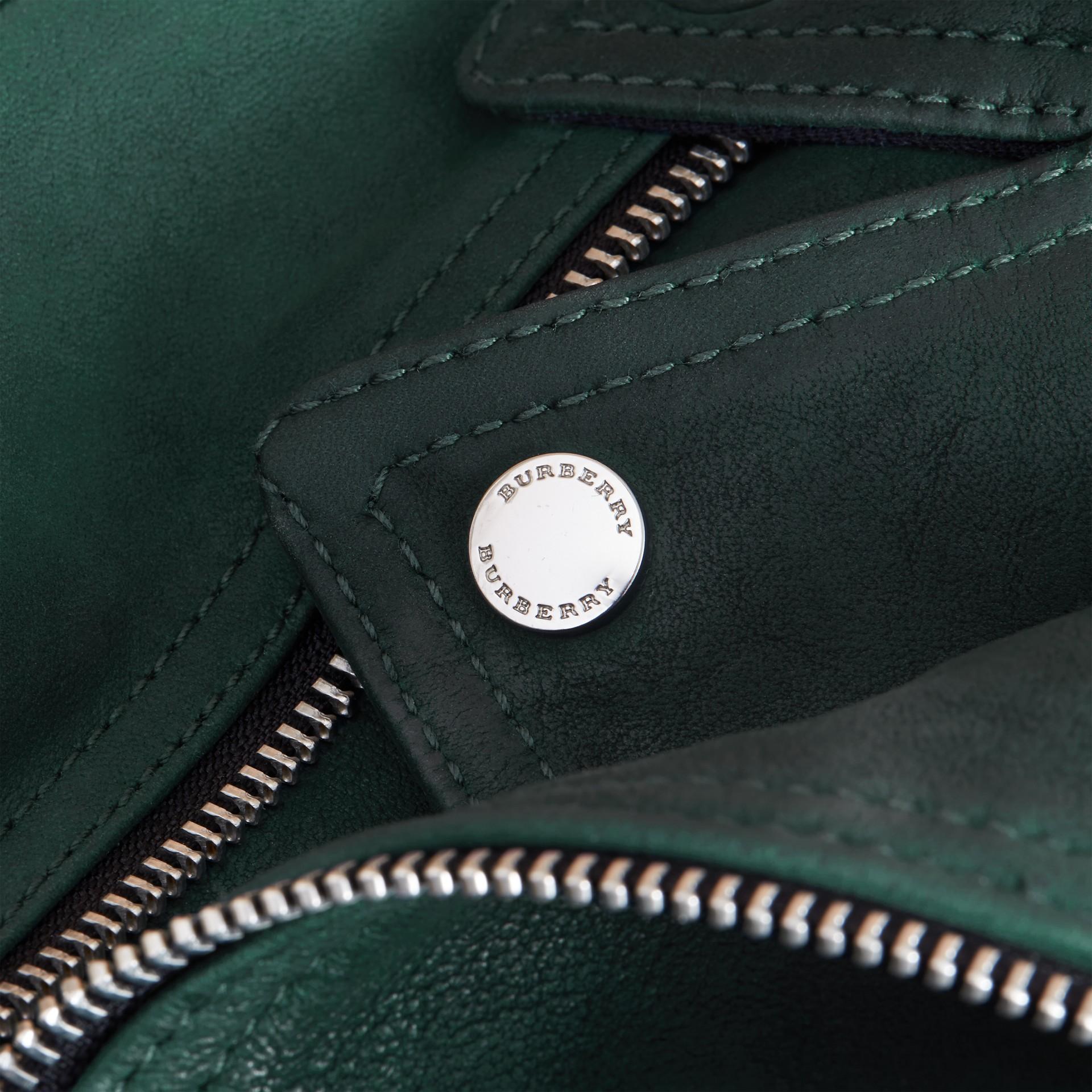 Quilted Detail Lambskin Biker Jacket - gallery image 2