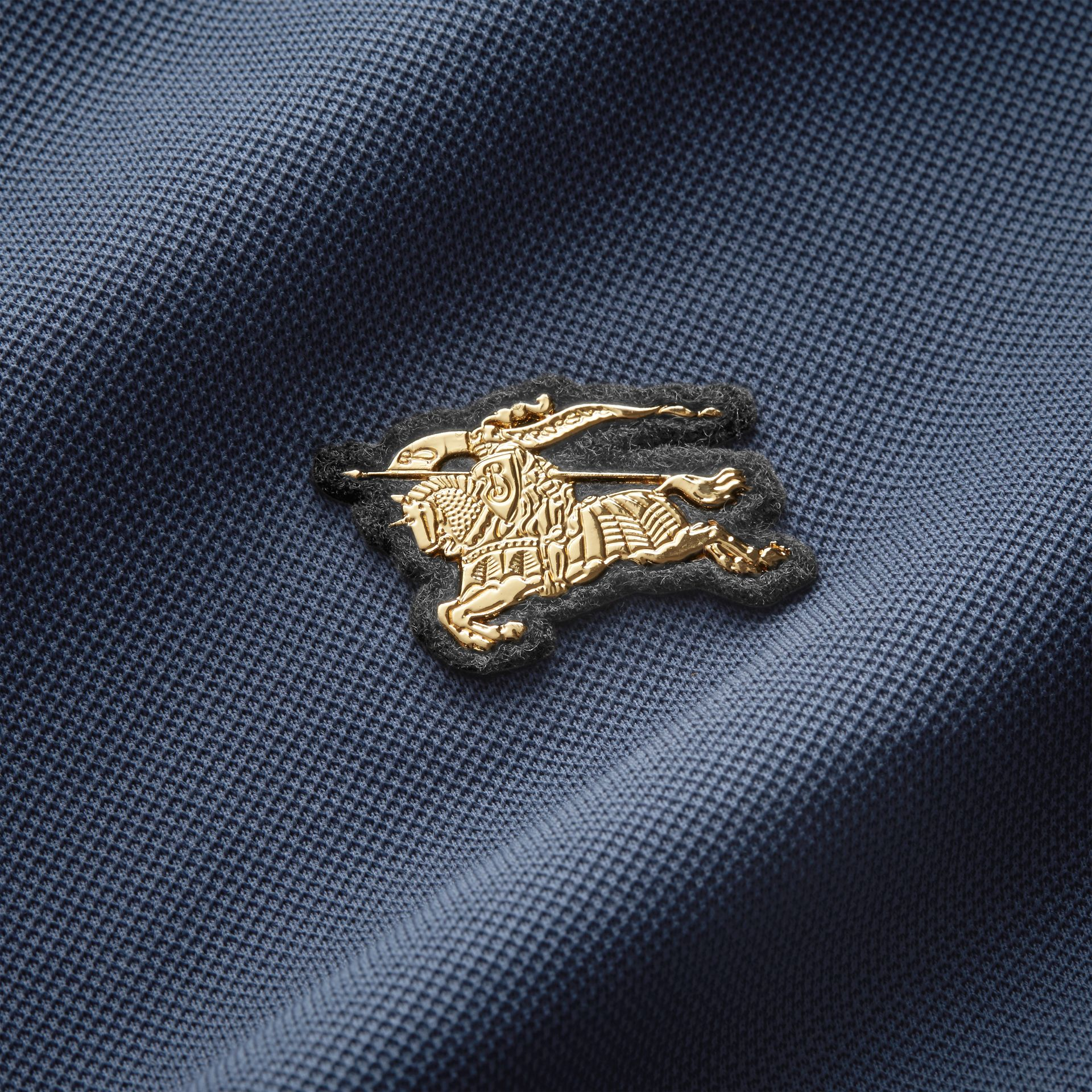 Cotton Piqué Polo Shirt in Steel Blue - Men | Burberry - gallery image 1