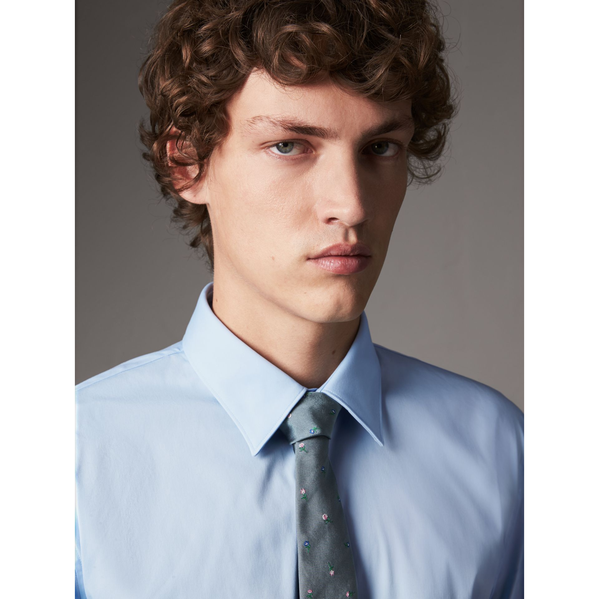 Slim Fit Stretch Cotton Shirt in City Blue - Men | Burberry United Kingdom - gallery image 1