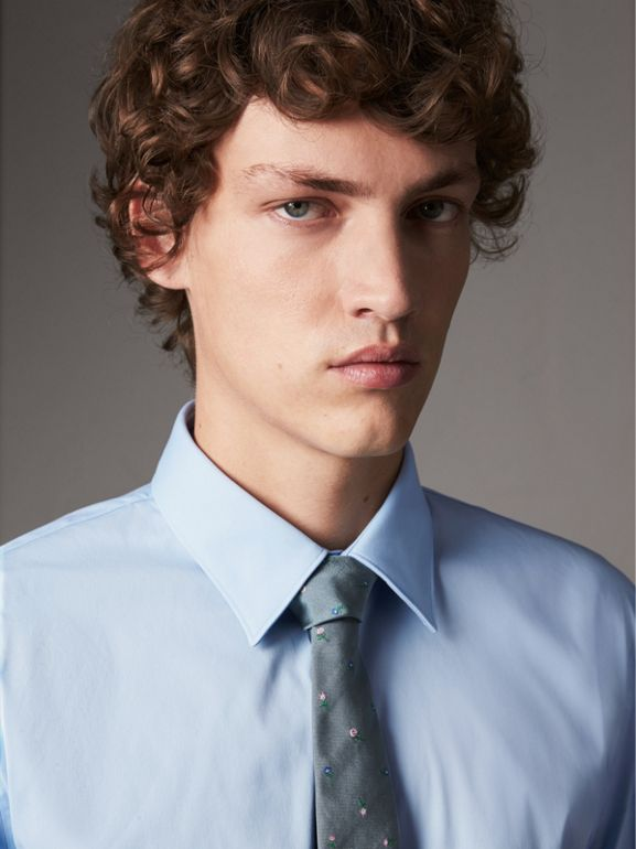 Slim Fit Stretch Cotton Shirt in City Blue - Men | Burberry - cell image 1