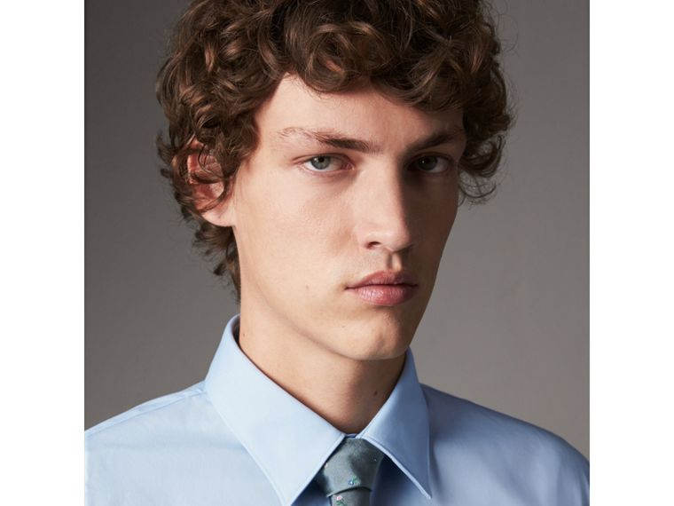 Slim Fit Stretch Cotton Shirt in City Blue - Men | Burberry United States - cell image 1