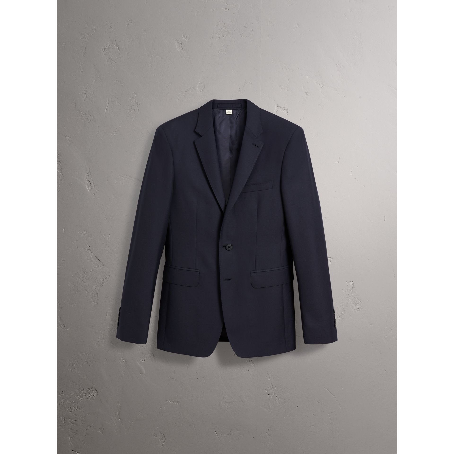 Slim Fit Wool Part-canvas Suit in Navy - Men | Burberry Canada - gallery image 3