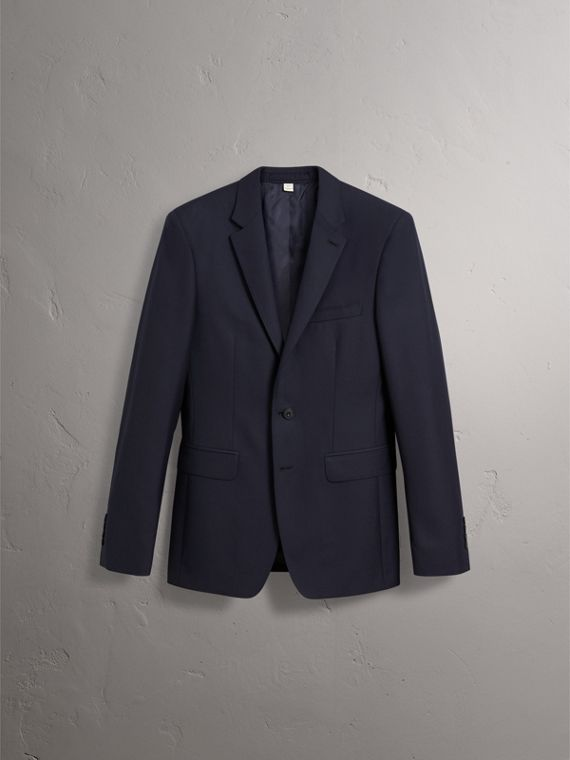 Slim Fit Wool Part-canvas Suit in Navy - Men | Burberry United Kingdom - cell image 3