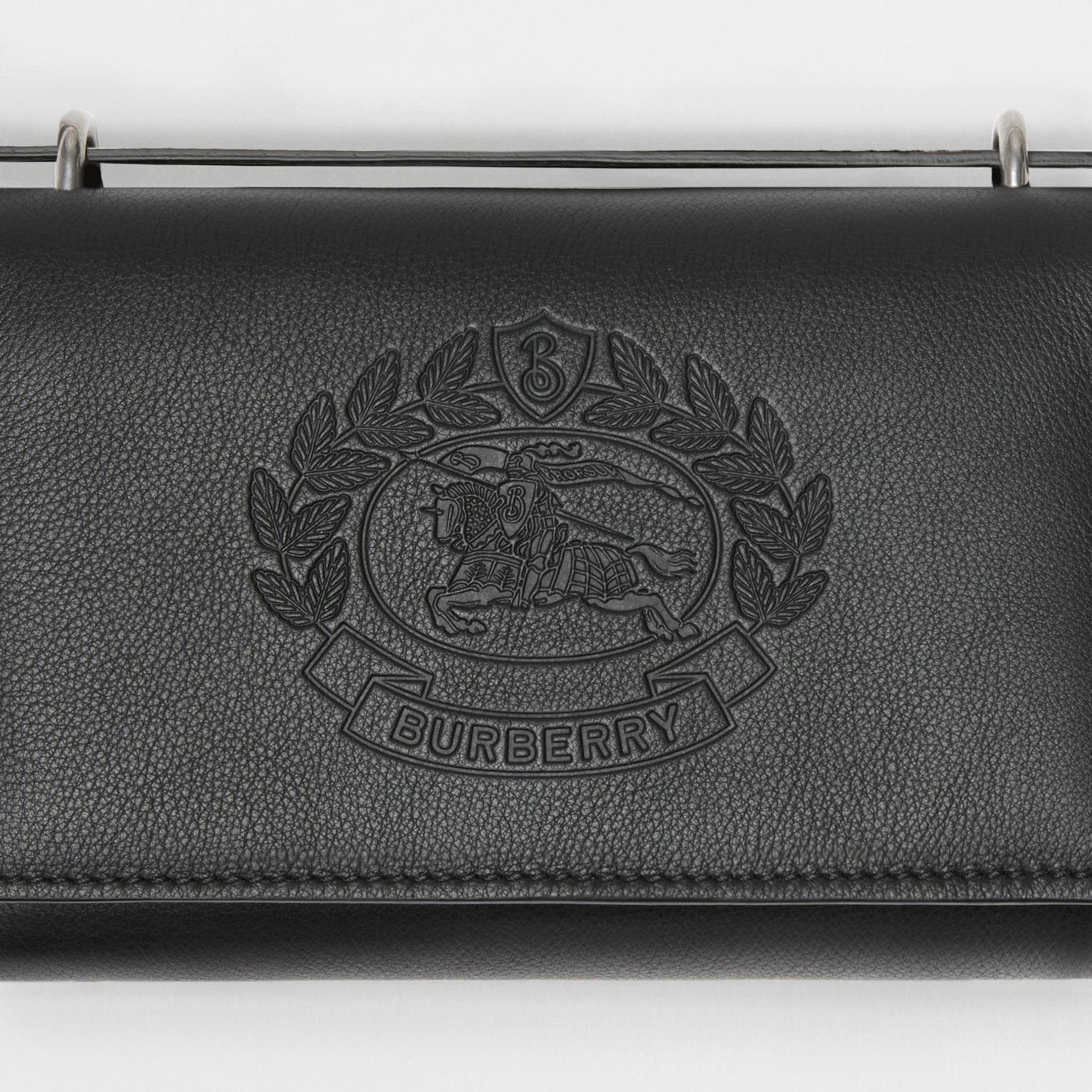 Embossed Crest Leather Wallet with Detachable Strap in Black - Women | Burberry Australia - gallery image 1