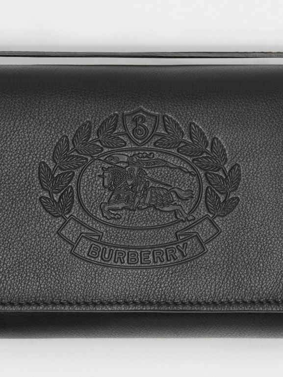 Embossed Crest Leather Wallet with Detachable Strap in Black - Women | Burberry Hong Kong - cell image 1
