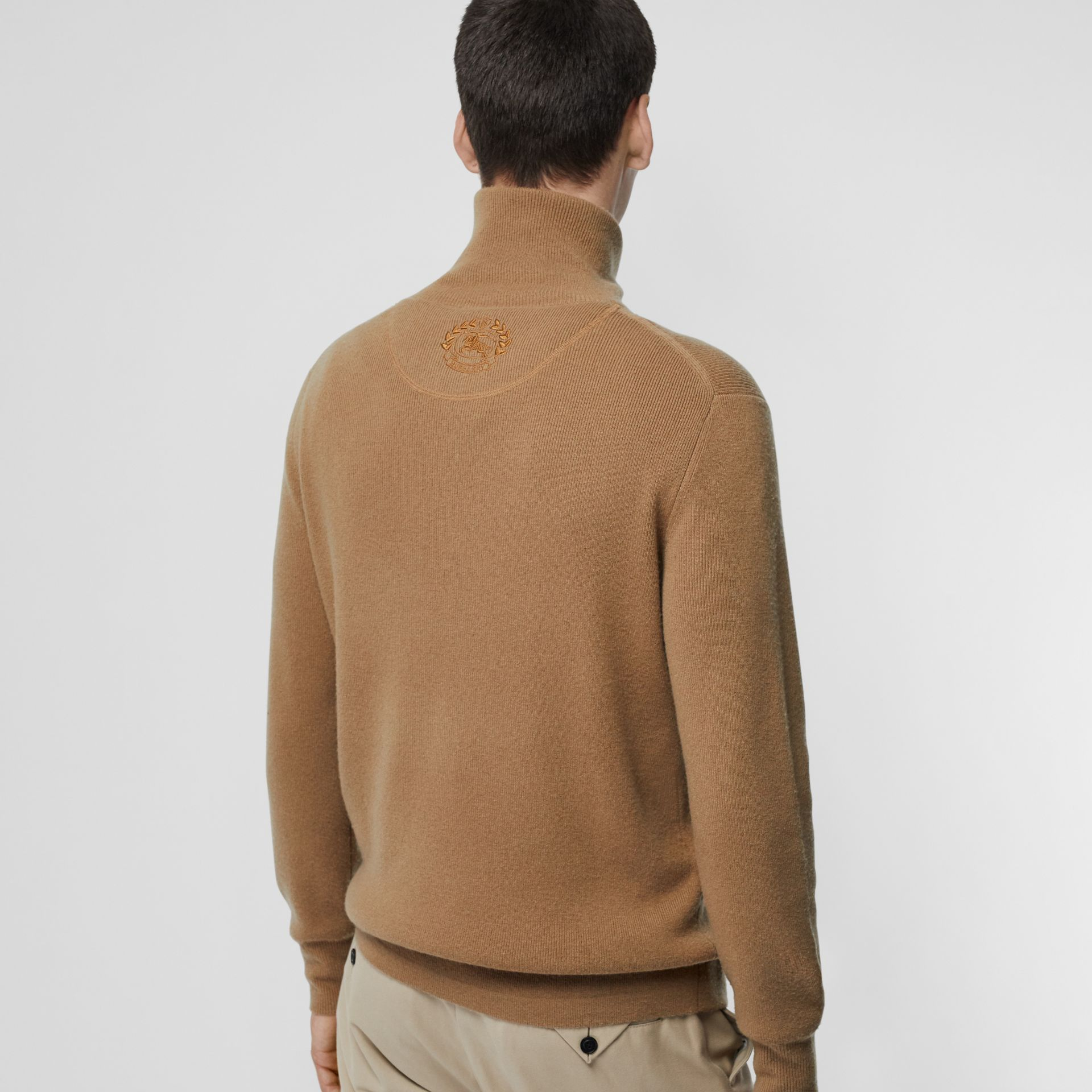Rib Knit Cashmere Half-zip Sweater in Camel - Men | Burberry United Kingdom - gallery image 2