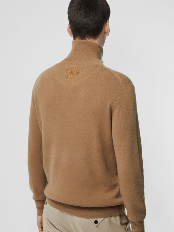 Rib Knit Cashmere Half-zip Sweater in Camel - Men | Burberry United Kingdom - cell image 2