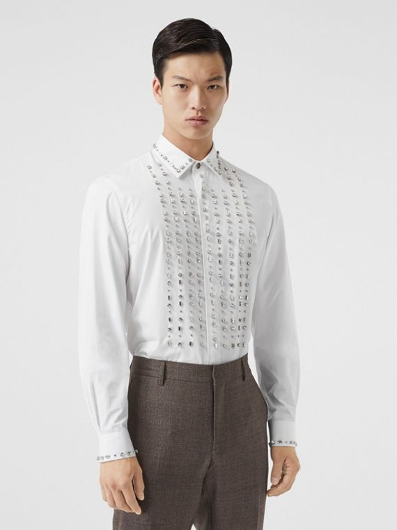 Classic Fit Embellished Cotton Poplin Dress Shirt in White