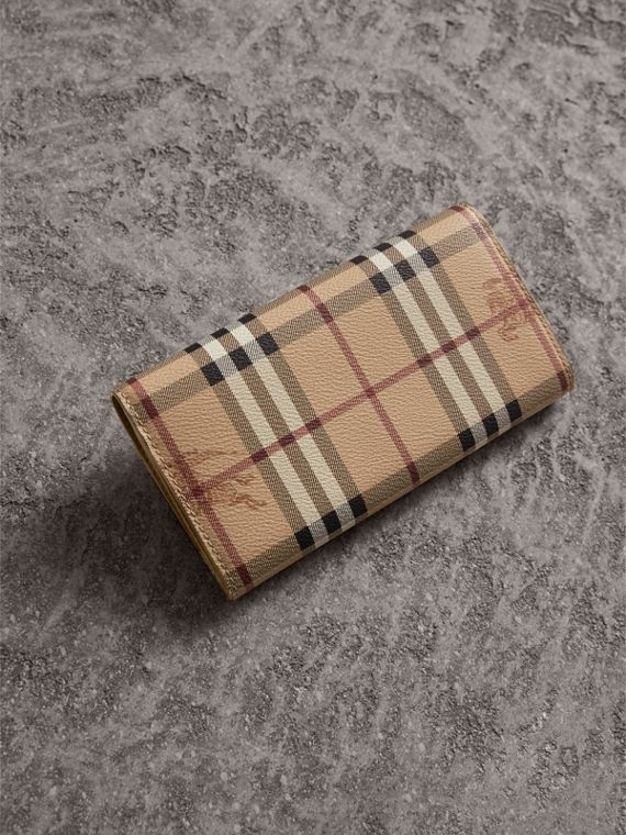 Haymarket Check and Leather Slim Continental Wallet in Mid Camel - Women | Burberry Australia - cell image 2