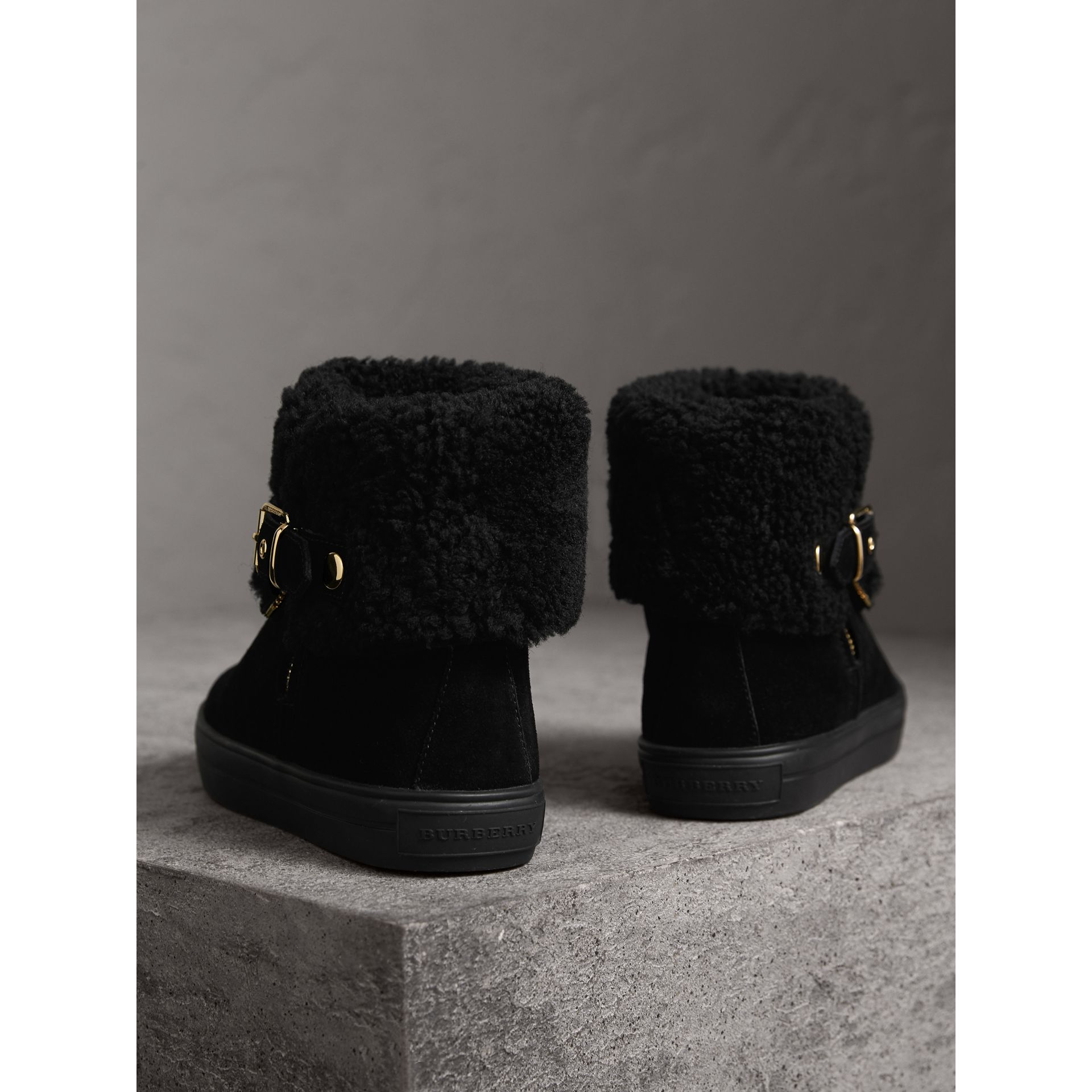 Shearling-lined Suede Ankle Boots in Black - Women | Burberry - gallery image 4