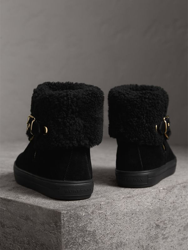 Shearling-lined Suede Ankle Boots in Black - Women | Burberry United Kingdom - cell image 3