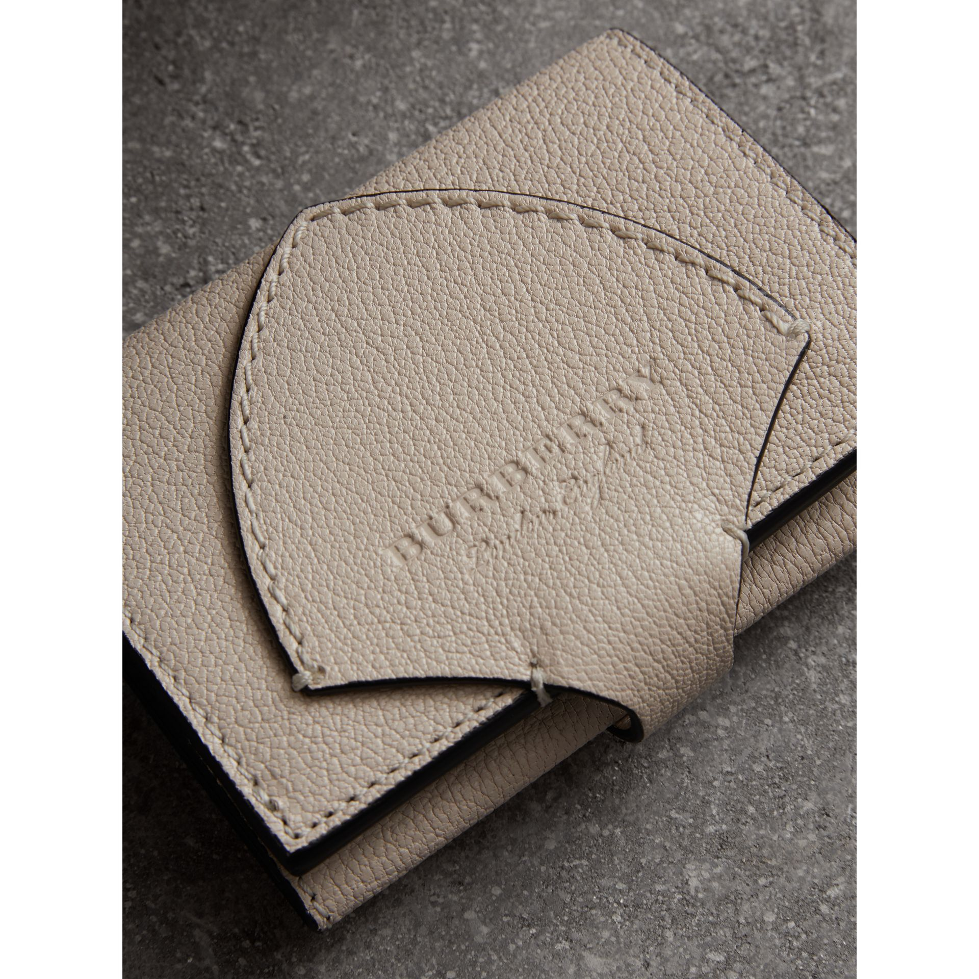 Equestrian Shield Two-tone Leather Folding Wallet in Stone - Women | Burberry United States - gallery image 1