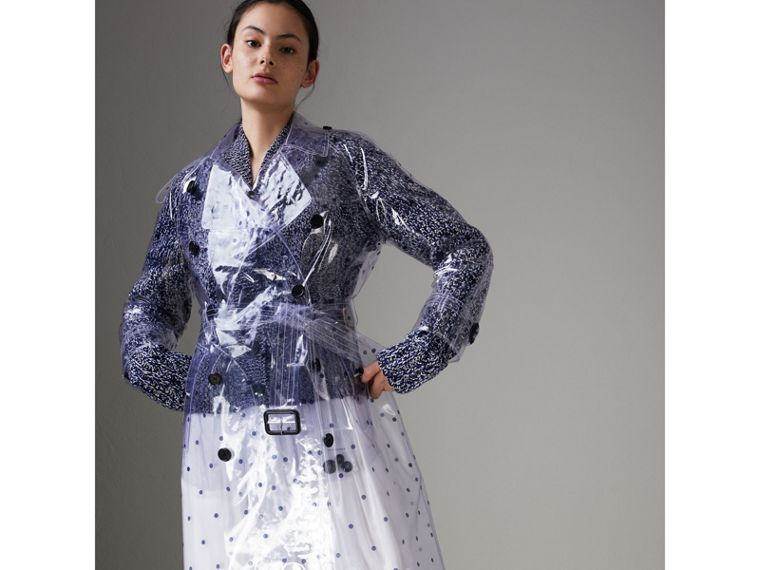 Polka-dot Plastic Trench Coat – Online Exclusive in Navy - Women | Burberry - cell image 4