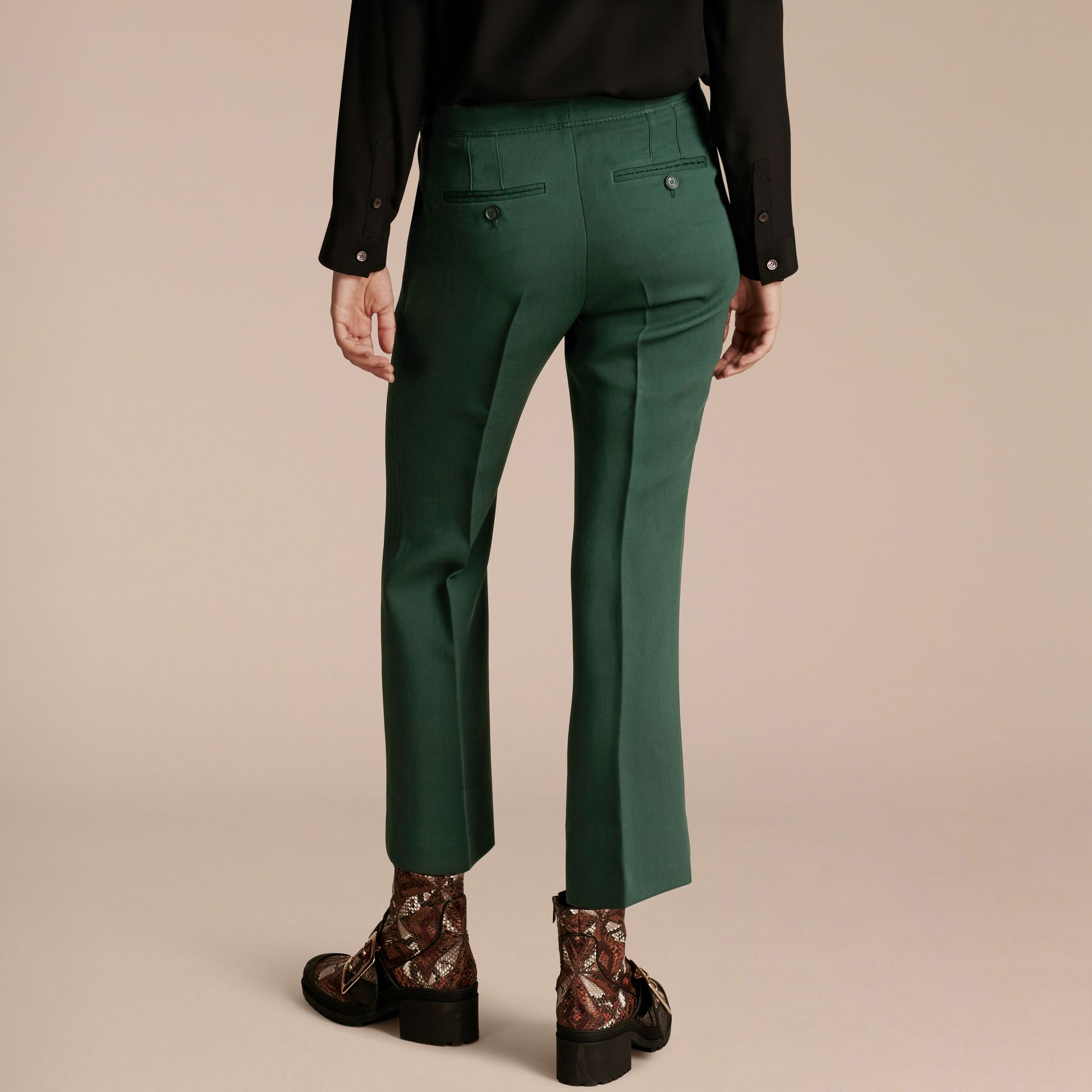 Deep green Cropped Tailored Trousers Deep Green - gallery image 2