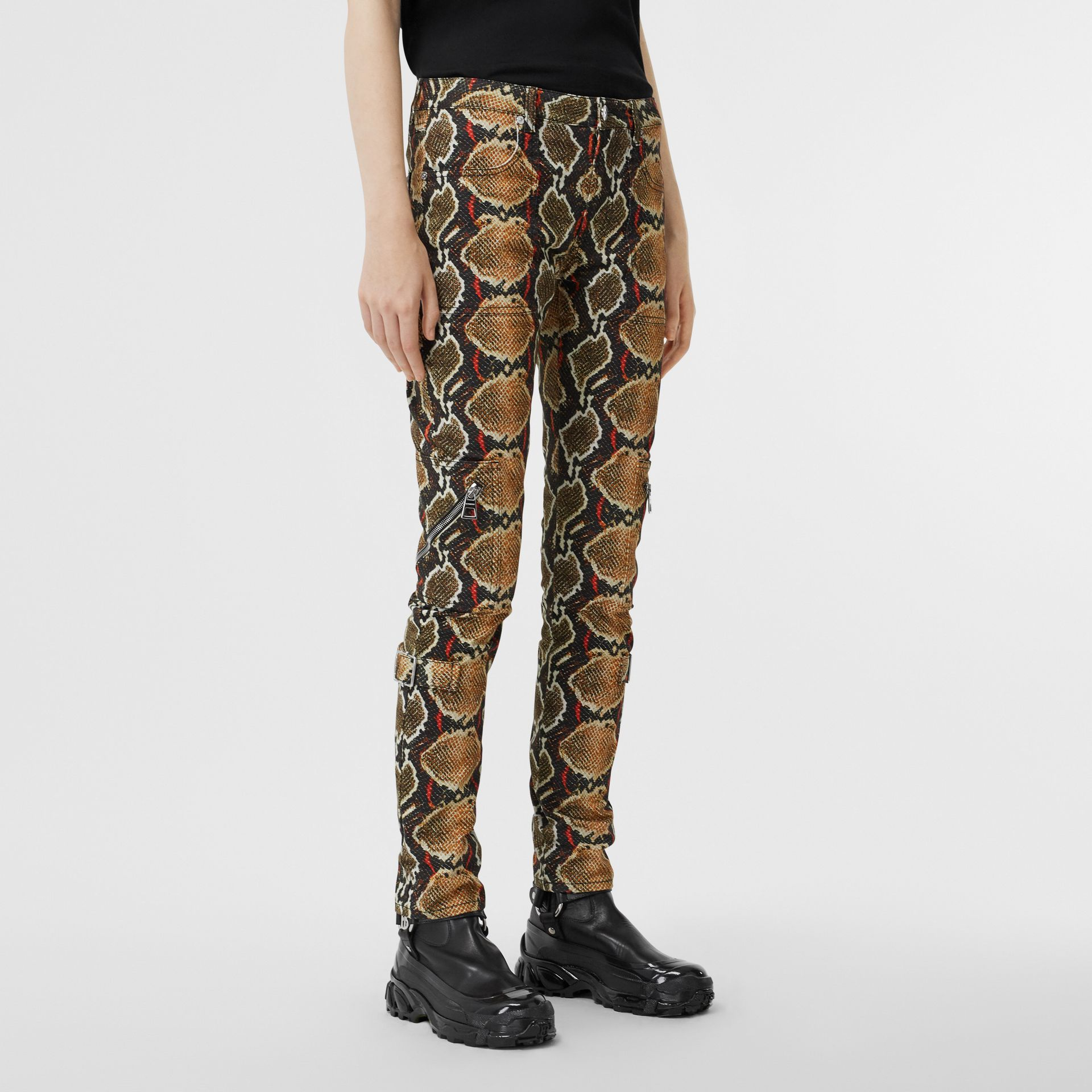 Skinny Fit Python Print Jeans in Soft Cocoa - Women | Burberry - gallery image 4