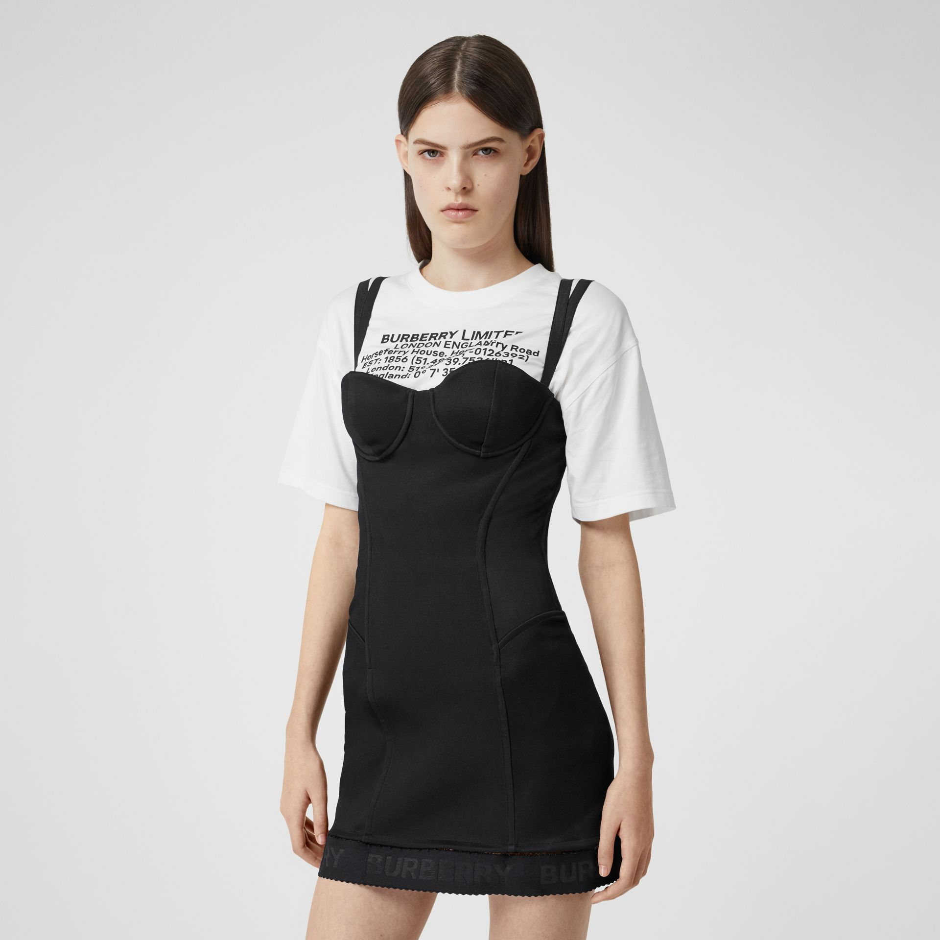 Stretch Jersey Corset Dress in Black - Women | Burberry United Kingdom - gallery image 5