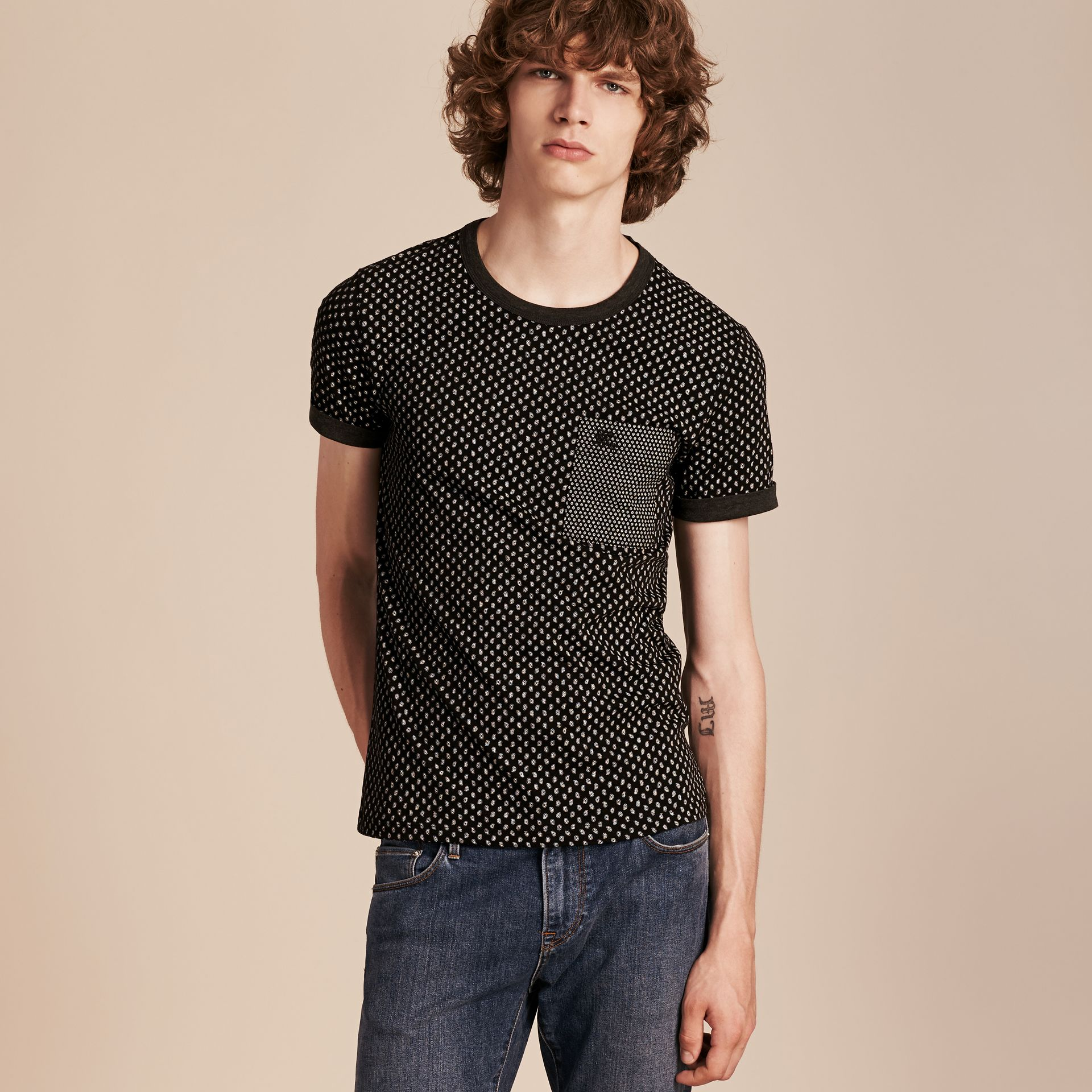 Black Paisley Cotton T-Shirt Black - gallery image 6