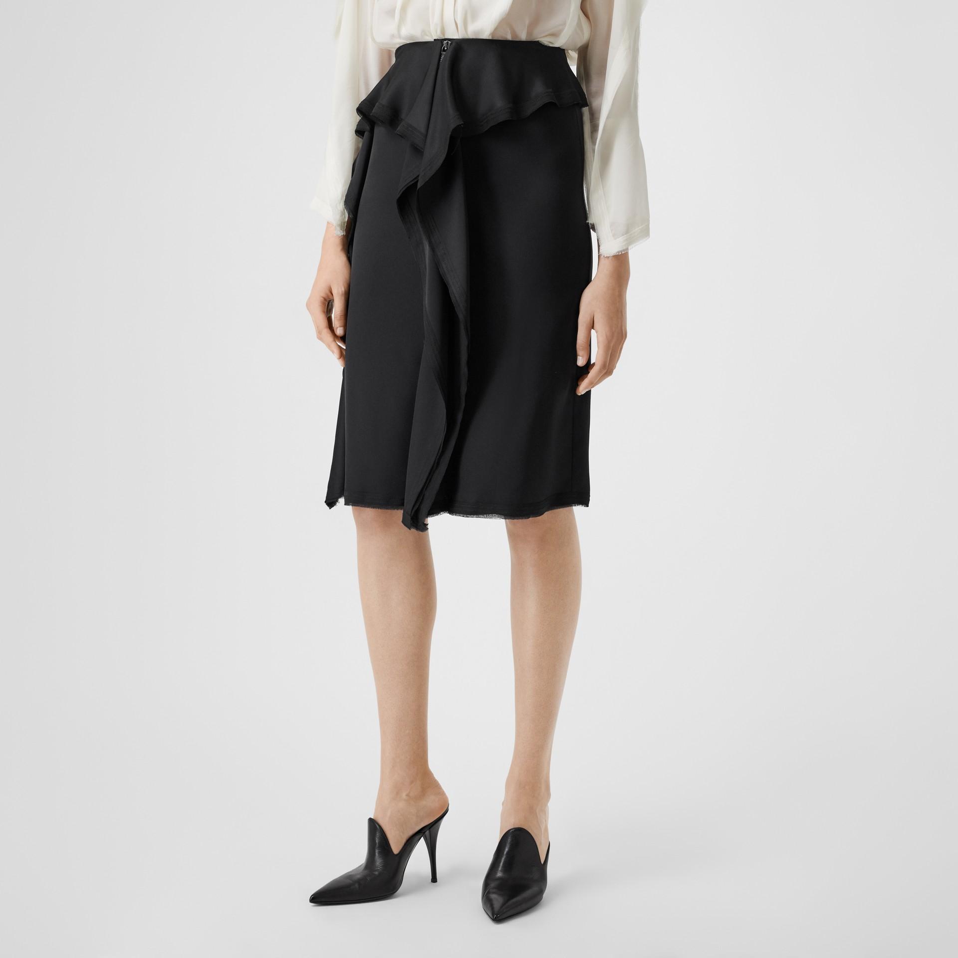 Ruffle Detail Silk Satin Pencil Skirt in Black - Women | Burberry United Kingdom - gallery image 4