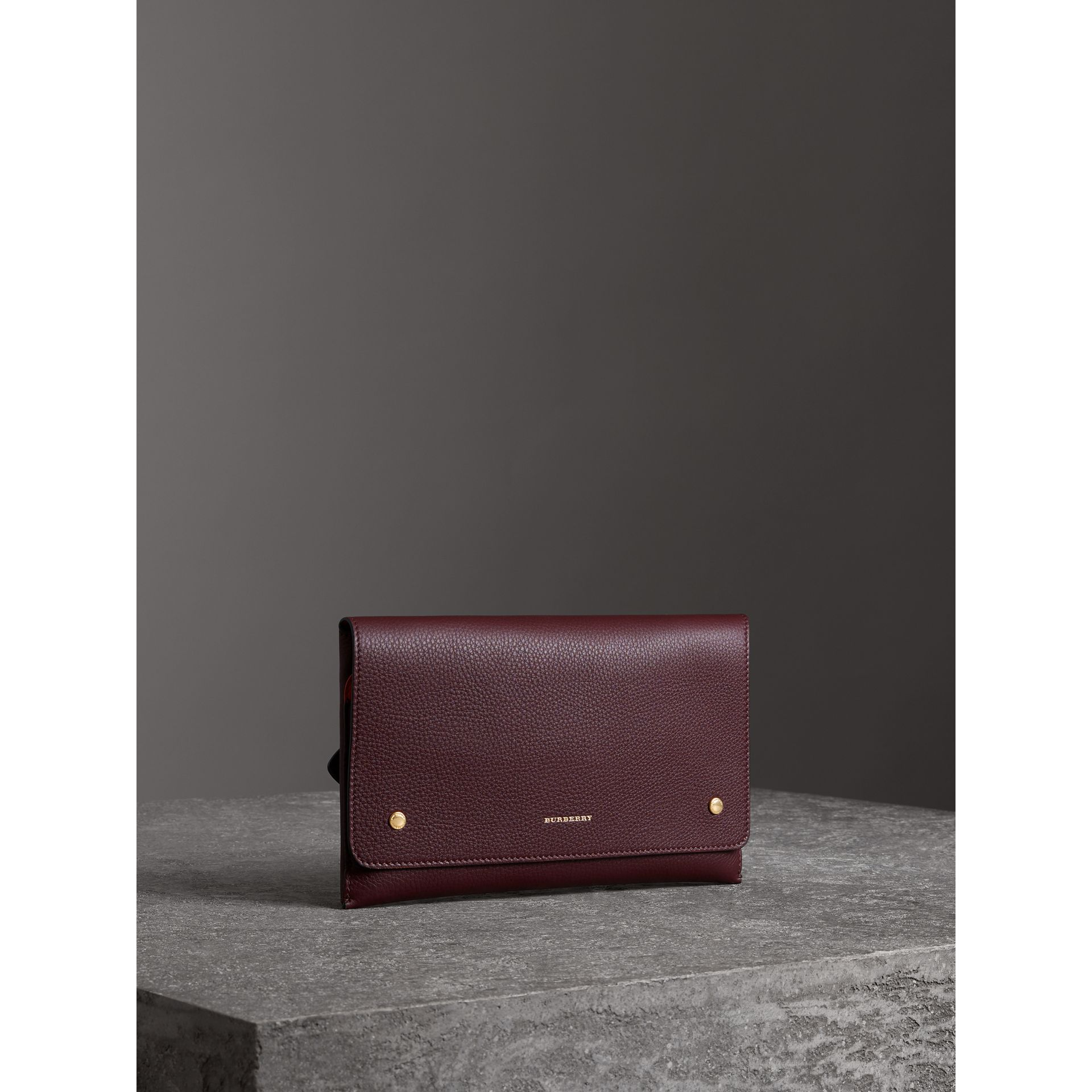 Two-tone Leather Wristlet Clutch in Deep Claret - Women | Burberry - gallery image 6