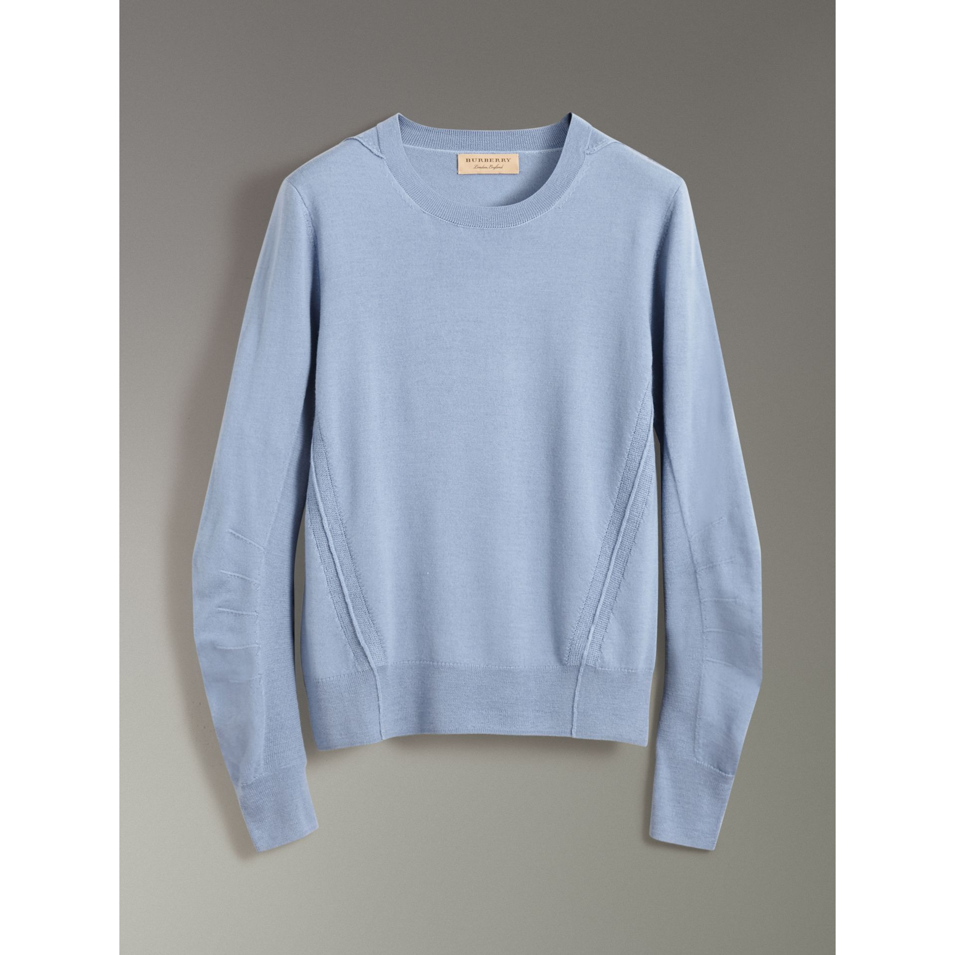 Check Detail Merino Wool Sweater in Stone Blue - Men | Burberry - gallery image 3