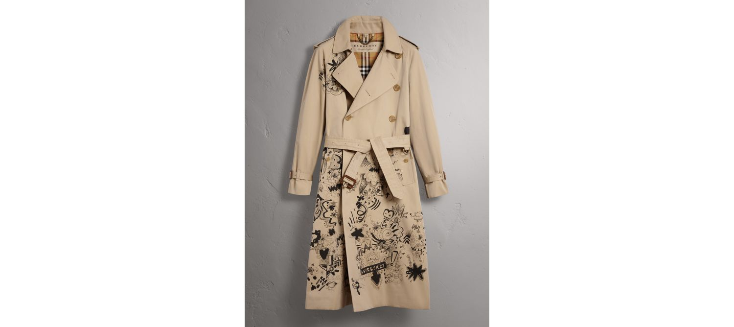 Doodle Print Cotton Gabardine Trench Coat in Honey