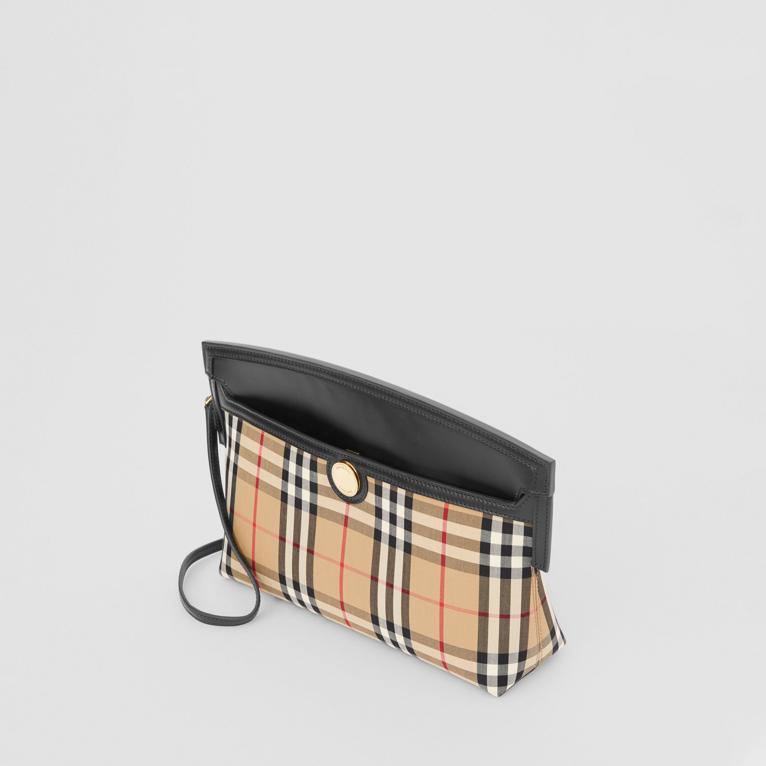 Vintage Check and Leather Society Clutch in Archive Beige - Women | Burberry Australia - 4