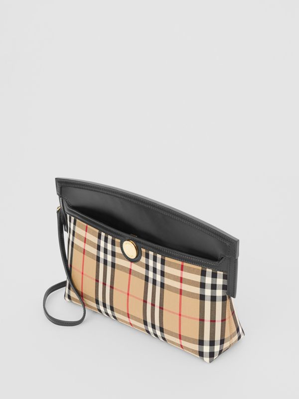 Vintage Check and Leather Society Clutch in Archive Beige - Women | Burberry - cell image 3