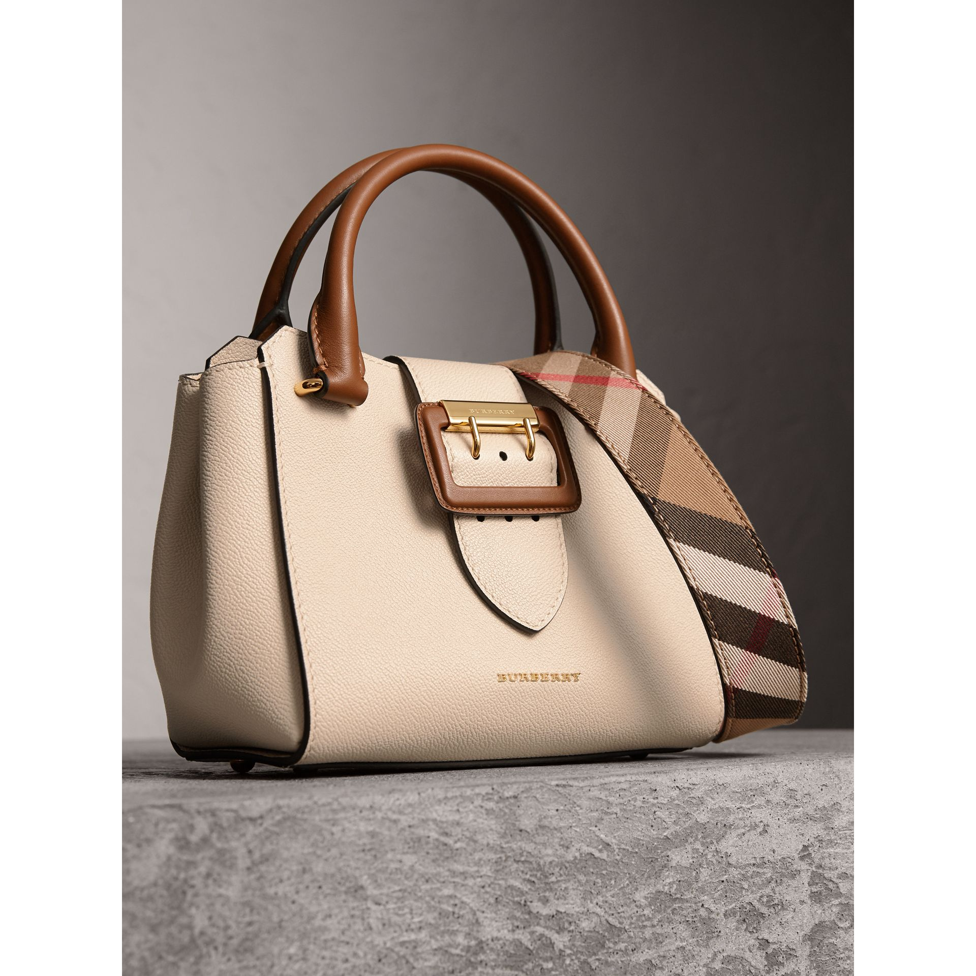 The Small Buckle Tote in Two-tone Leather in Limestone - Women | Burberry Australia - gallery image 7