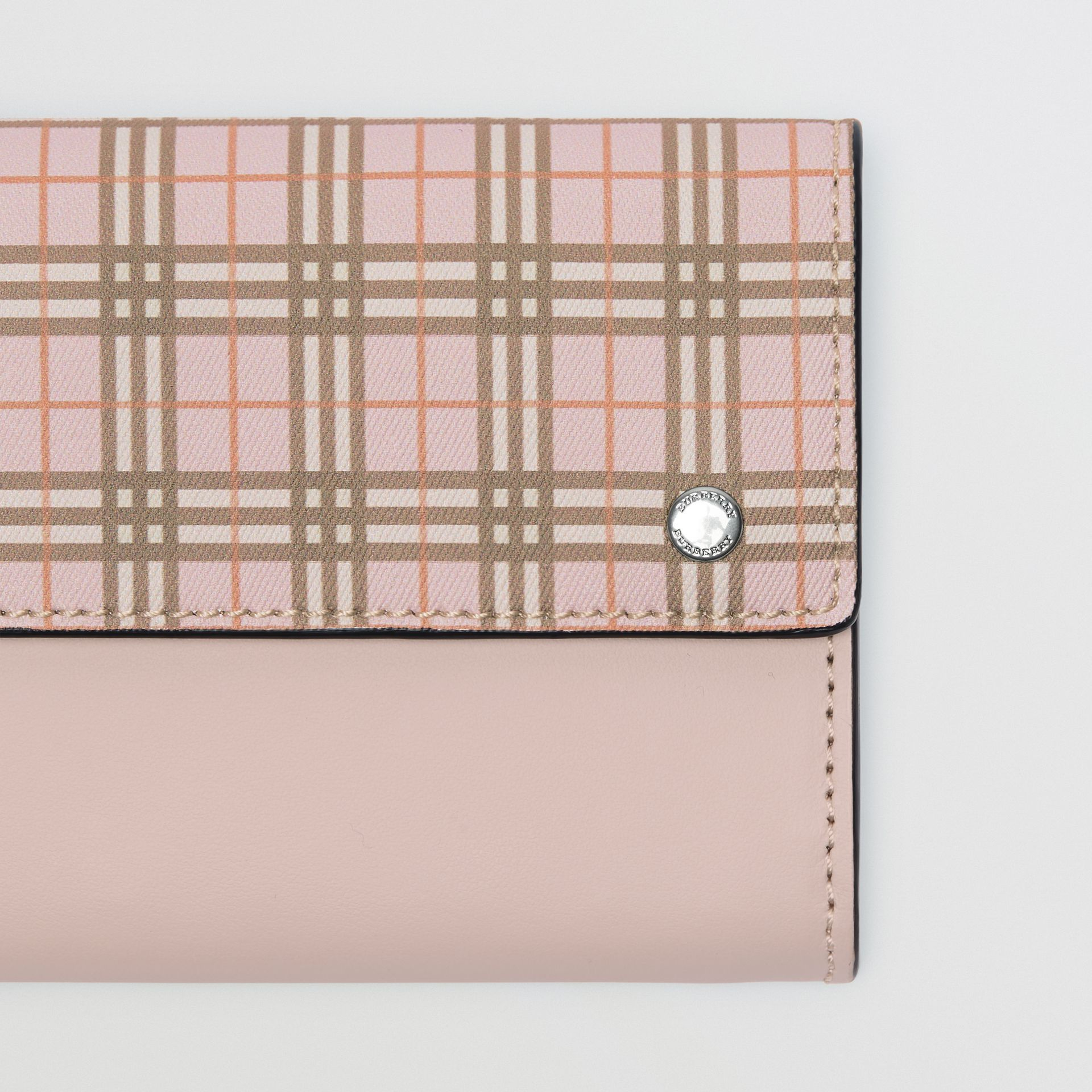 Small Scale Check and Leather Continental Wallet in Ice Pink - Women | Burberry - gallery image 1