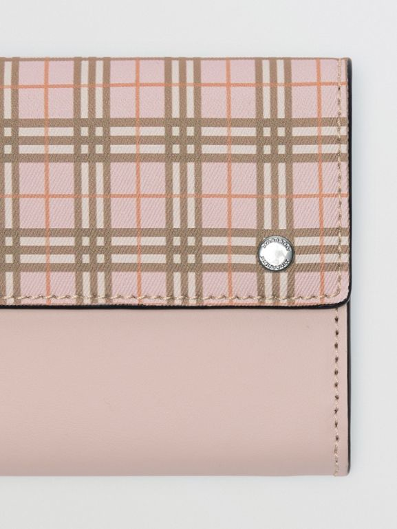 Small Scale Check and Leather Continental Wallet in Ice Pink - Women | Burberry - cell image 1