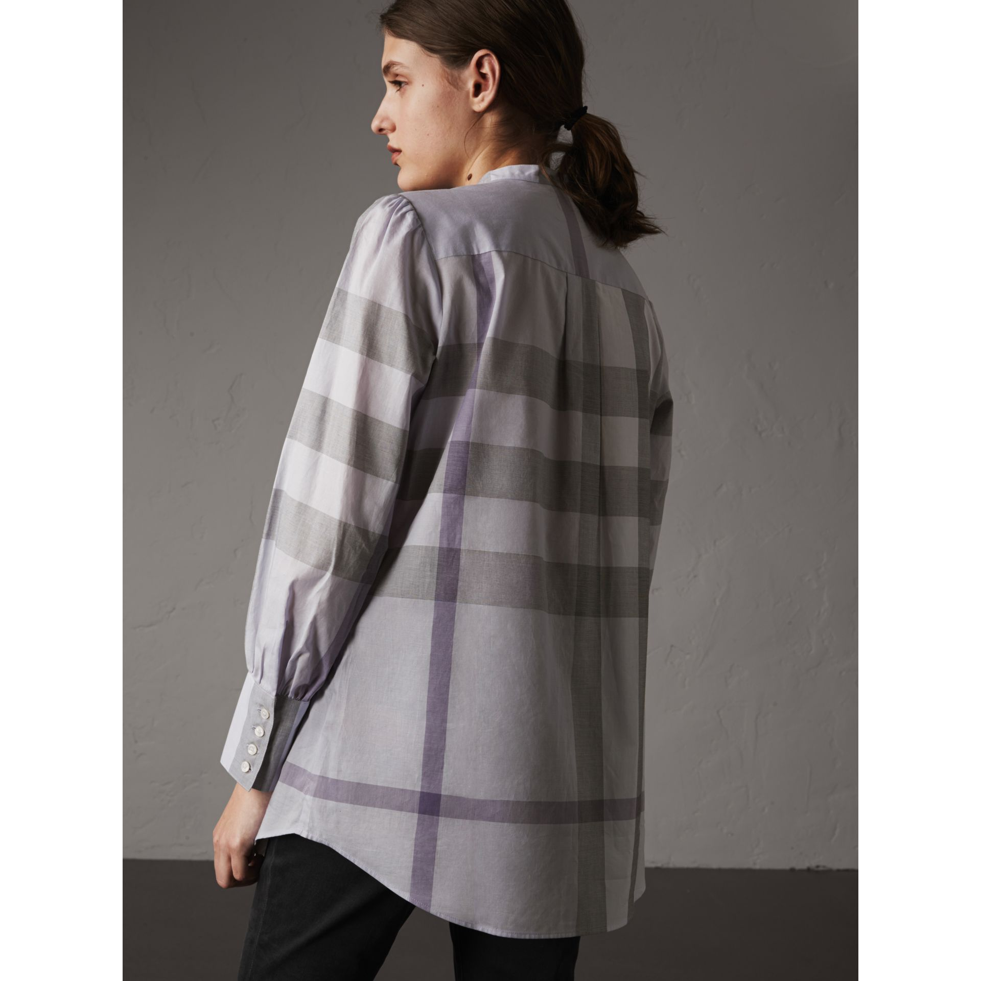 Grandad Collar Check Cotton Tunic Shirt in Pale Wisteria - Women | Burberry - gallery image 2