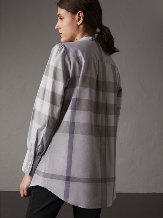 Grandad Collar Check Cotton Tunic Shirt in Pale Wisteria - Women | Burberry - cell image 2