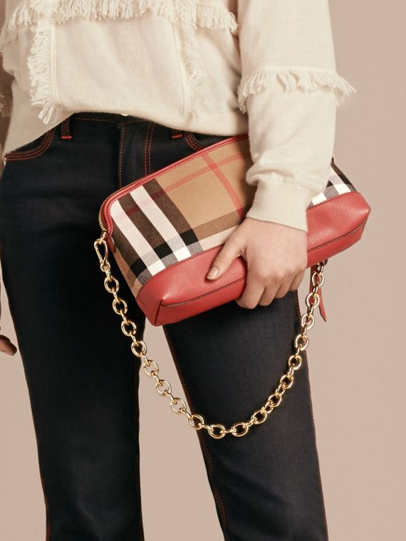 House Check and Leather Clutch Bag in Russet Red - Women | Burberry - cell image 2