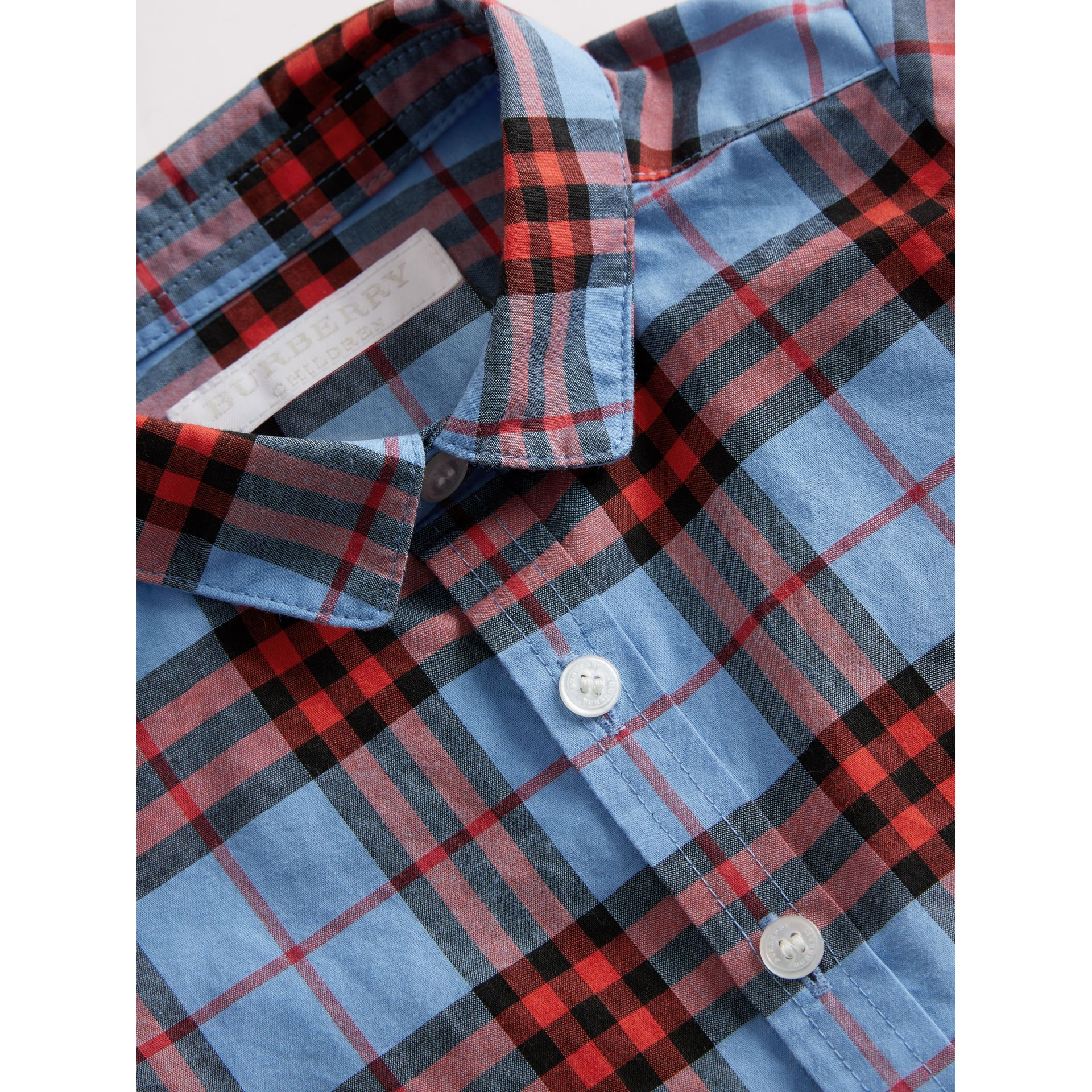 Short-sleeve Check Cotton Shirt in Cornflower Blue - Children | Burberry Australia - gallery image 1