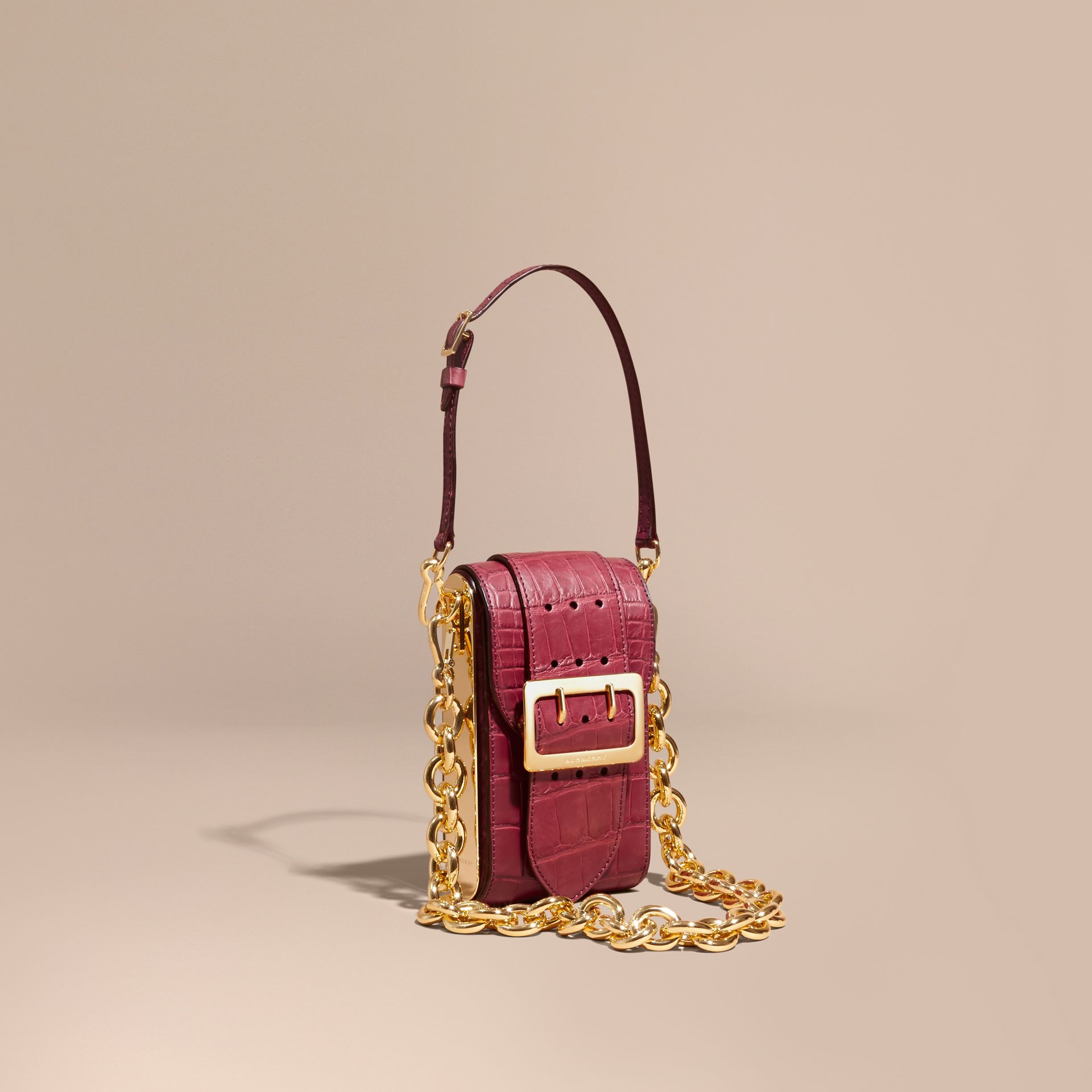 Alizarin crimson The Buckle Bag – Oblong in Alligator - gallery image 1