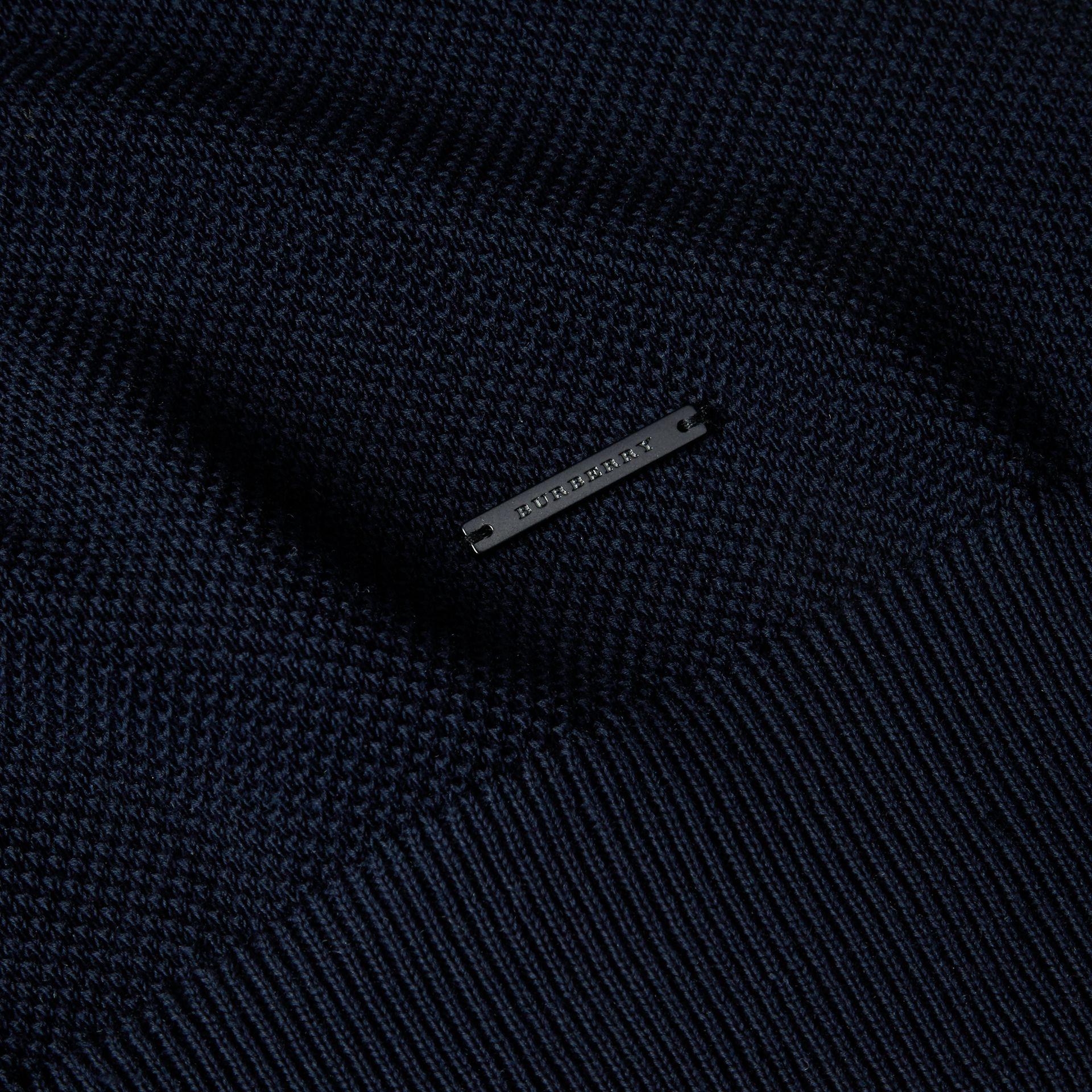 Crew Neck Textured Cotton Sweater in Navy - Men | Burberry - gallery image 1