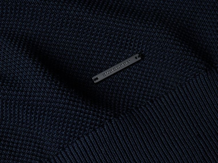 Crew Neck Textured Cotton Sweater in Navy - Men | Burberry - cell image 1
