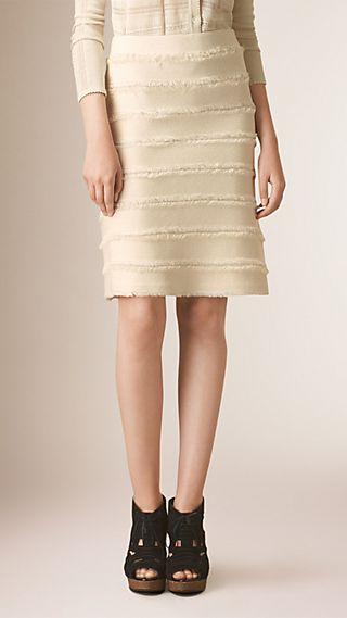 Fringed Knitted Silk Pencil Skirt