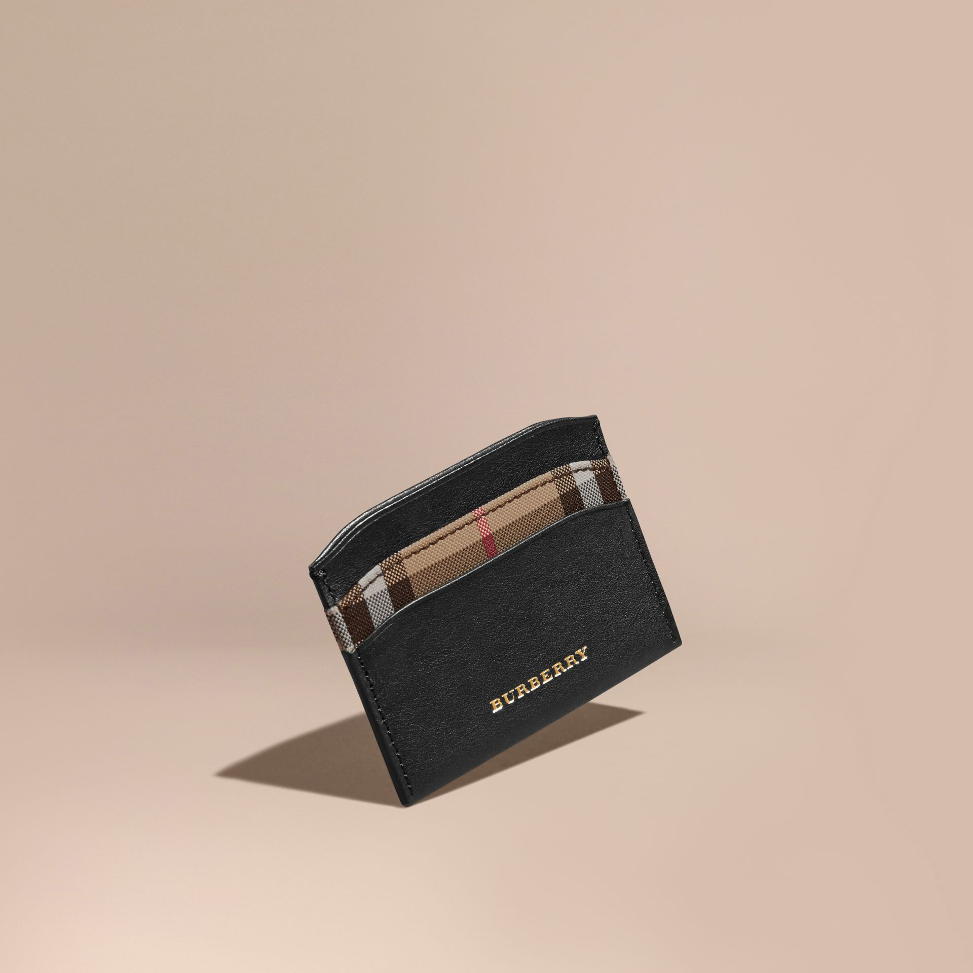 Check and Leather Card Case in Black - Women | Burberry - gallery image 1