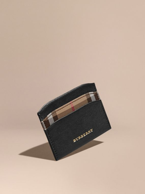 Check and Leather Card Case