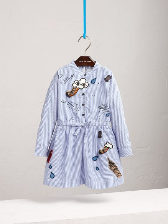 London Icons Appliqué Cotton Linen Shirt Dress in Pale Blue/white - Girl | Burberry - cell image 2
