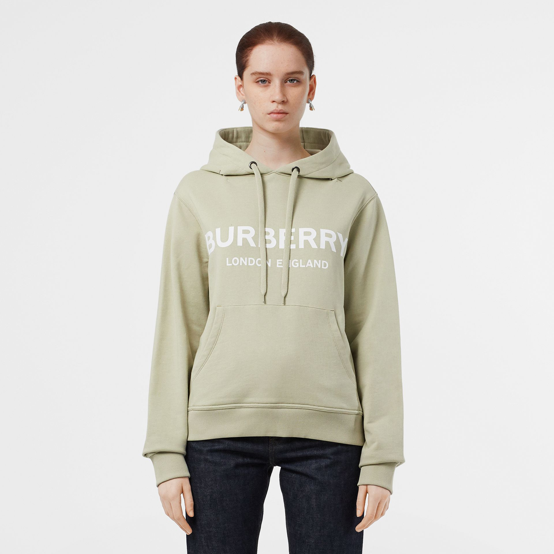 Logo Print Cotton Oversized Hoodie in Pale Apple Green - Women | Burberry United Kingdom - gallery image 5