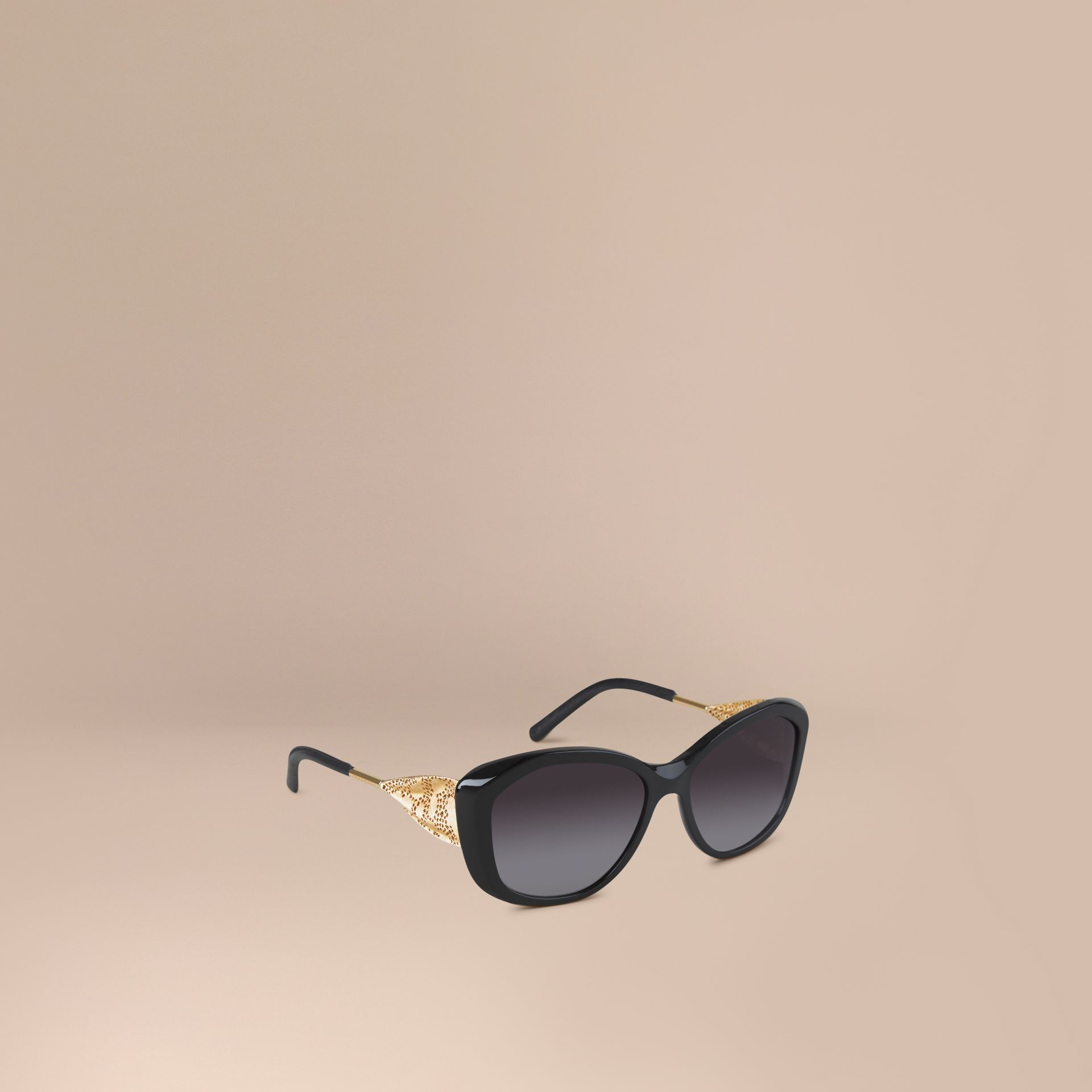 Black Gabardine Collection Square Frame Sunglasses Black - gallery image 1