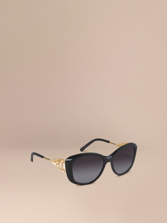Gabardine Collection Square Frame Sunglasses Black