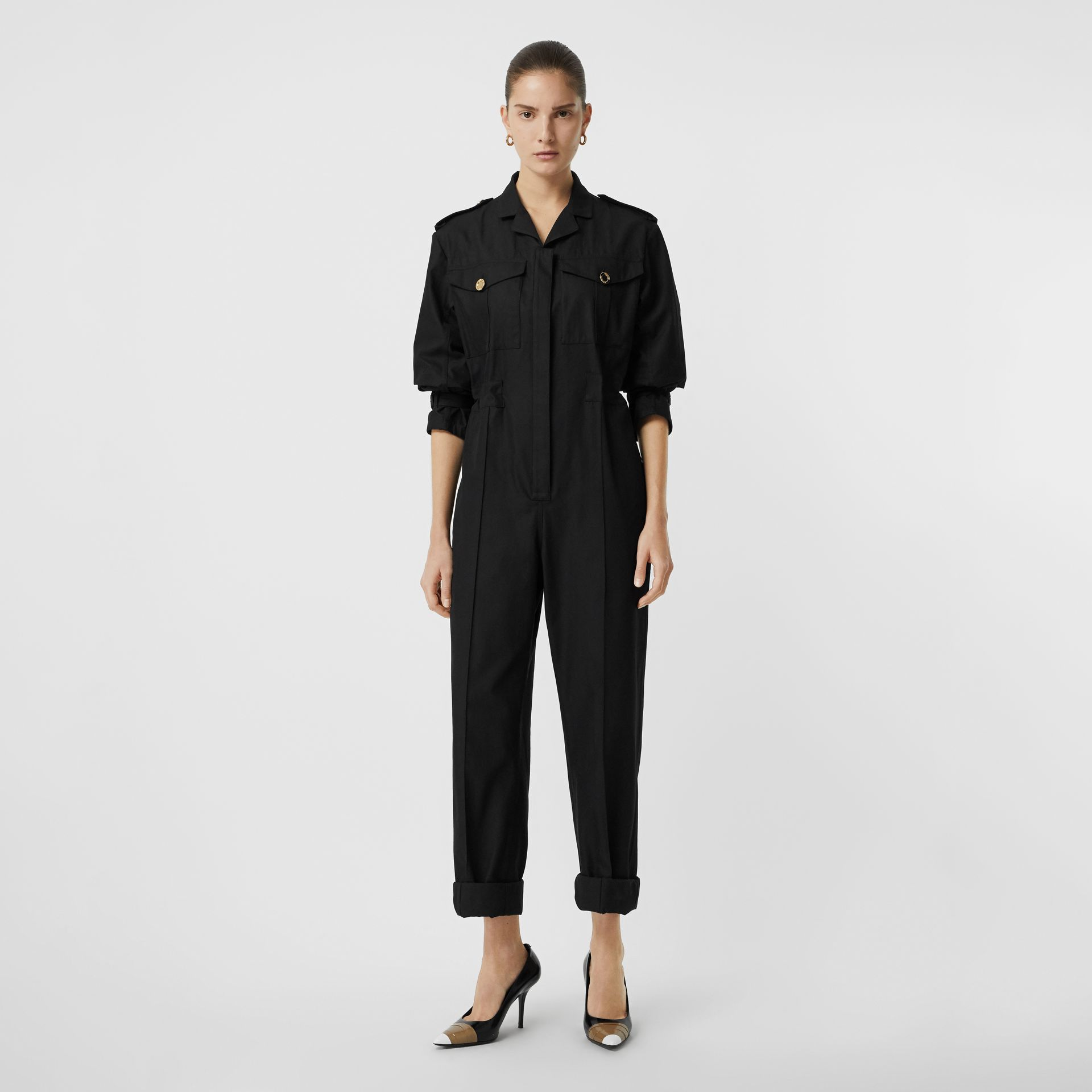 Cotton Gabardine Jumpsuit in Black - Women | Burberry United States - gallery image 0