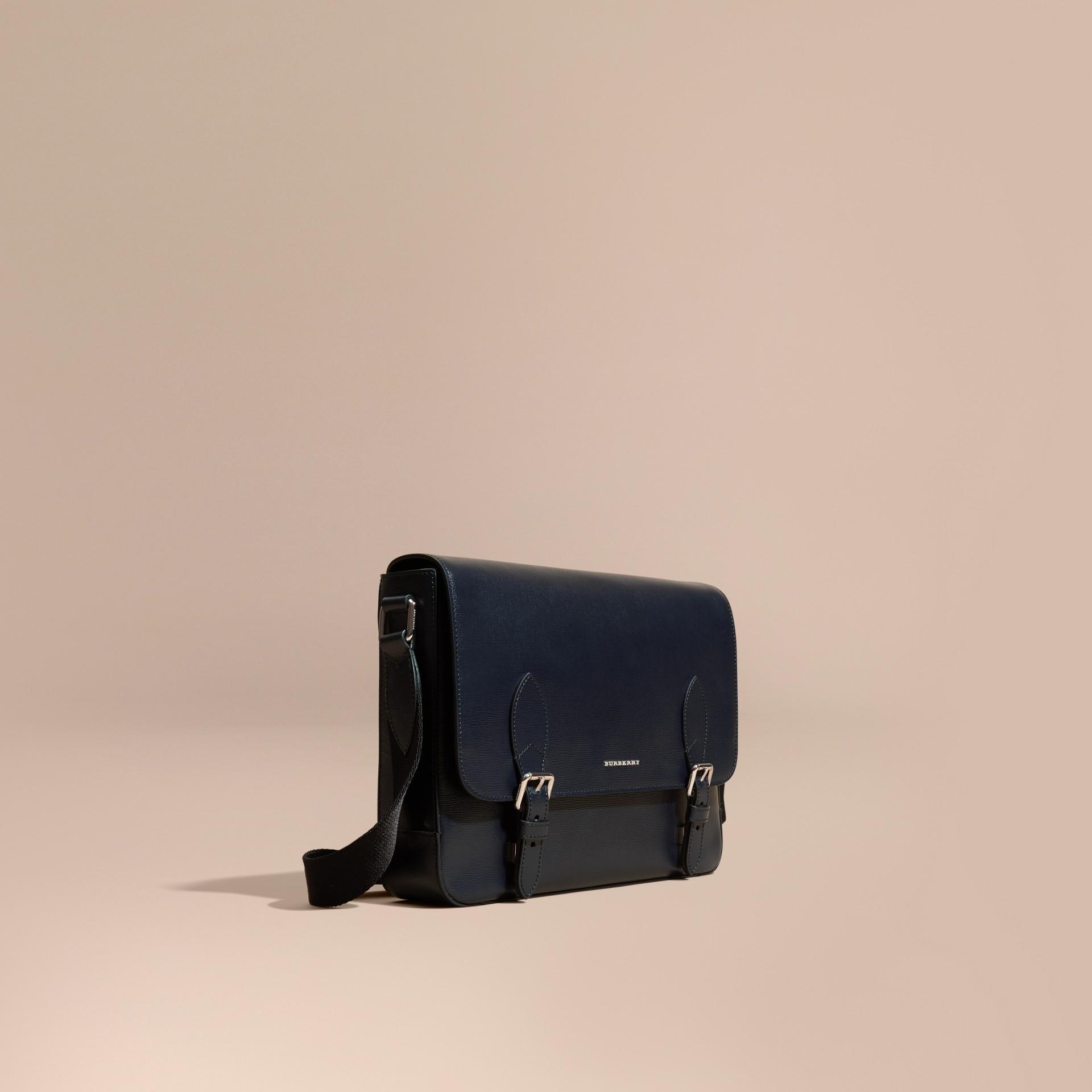 Dark navy Medium London Leather Messenger Bag Dark Navy - gallery image 1