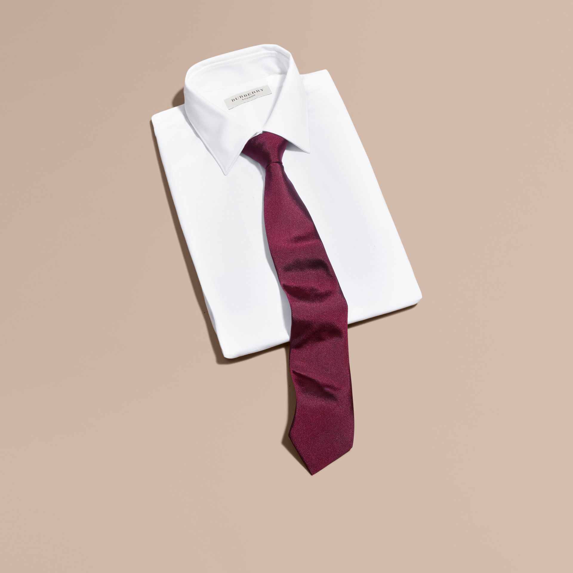 Dark plum pink Modern Cut Silk Twill Tie Dark Plum Pink - gallery image 3