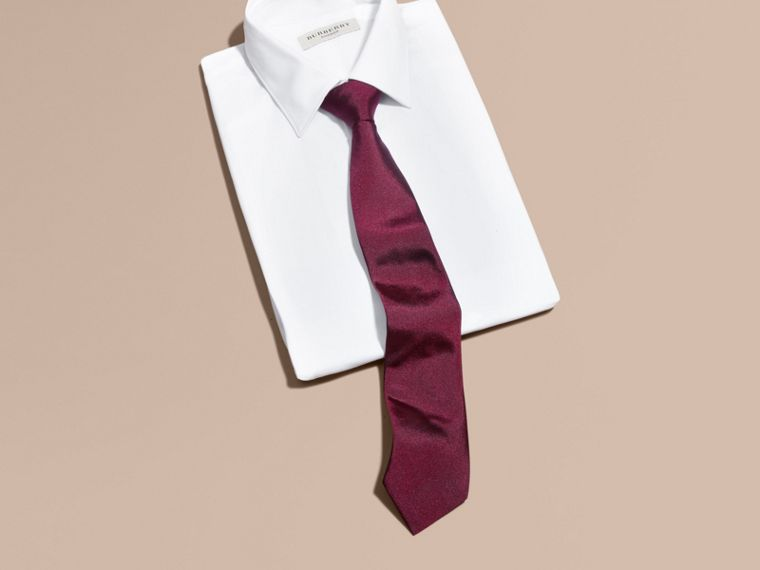 Dark plum pink Modern Cut Silk Twill Tie Dark Plum Pink - cell image 2